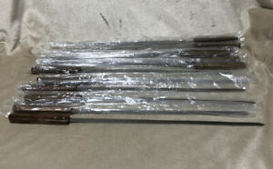 "Set Of 12 Stainless Steel BBQ Skewers With Wood Handle. 18"" Long"