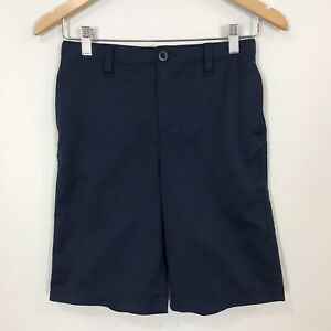 """UNDER ARMOUR Youth Boy's Sz 14 Navy Blue Flat Front CASUAL SHORTS 9.5"""" Inseam $13.45"""