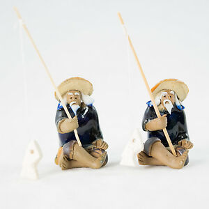 2 Chinese Mudman Figurine Man Sitting Fishing for Bonsai Tree amp; Zen Garden