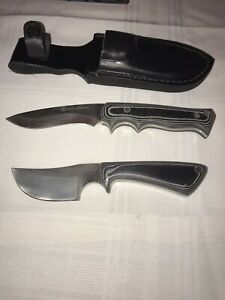 Vintage Smith amp; Wesson Samp;W Fixed Blade Hunting Knives w Leather Sheath