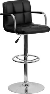 Black Quilted Vinyl Adjustable Height Barstool with Arms and Chrome Base