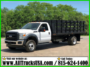 2012 Ford F550 6.8 V10 GAS 16' STAKE SIDE FLATBED TRUCK Used Regular Cab