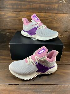 Adidas Alphabounce Beyond 2 Youth Girls F33984 Grey Pink Sneakers Shoes NEW $39.99
