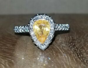 14k white gold natural pear shape yellow sapphire engagement ring 1.32ct