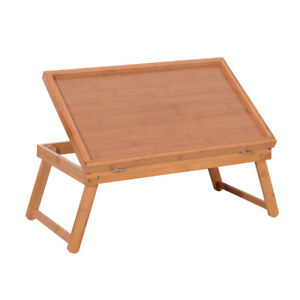 Adjustable Bamboo Bed Tray Laptop Desk Food Dinner Serving Table Folding Legs