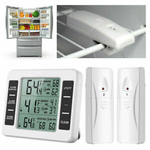 Wireless Digital Refrigerator Freezer Thermometer Temp Alarm 2 Sensor In/Outdoor