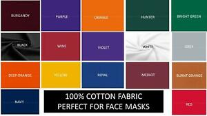 Solid Cotton Fabric 100% Cotton for Face Masks Quilting Crafting FULL YARDS $8.89