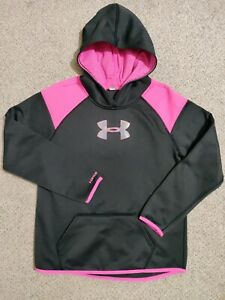 Youth Girls Under Armour Hoodie Jacket Black and Pink See Measurements $9.99
