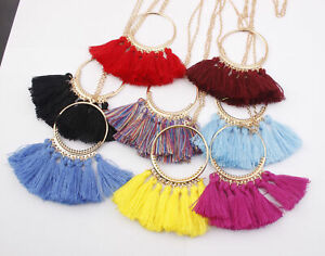 Tassel Necklace Women Fashion Jewelry Chain Silk Fabric Boho Choker