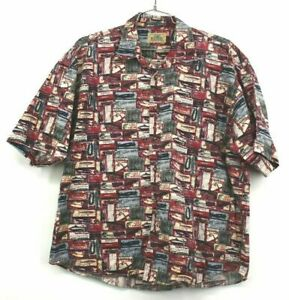 Red Head Mens XL Short Sleeve Fishing Lure Button Up Shirt Lucky Lures Fishing