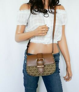 NWT MICHAEL KORS LILLIAN JACQUARD LEATHER SMALL CROSSBODY BAG MK BEIGE BROWN
