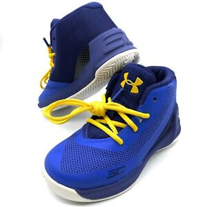 Toddler Under Armour Stephen Curry 3 Basketball Shoes Blue Yellow Size 6K 6C $26.99