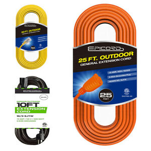 10ft 25ft 50ft 100ft Extension Cord 16 314 3 SJTW Outdoor Heavy Duty Power Cord