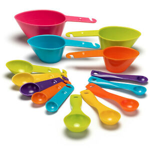 Ultimate Measuring CUPS amp; SPOONS SET 14 piece Set MultiColor Durable Plastic