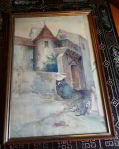 Victorian painting City Scape with Nun $45.00