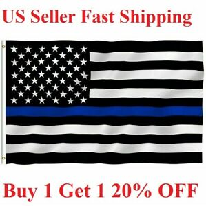 Thin BLUE Line police Flag 3x5 Ft  Fire Fighter Firefighter -Police American Law