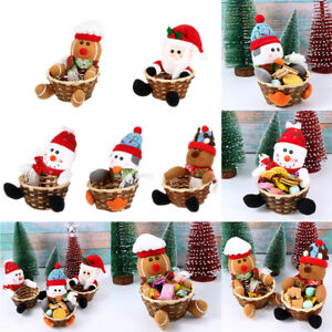 Merry Christmas Santa Claus Xmas Ornament Storage Box Candy Basket Cookies Bag