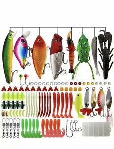 102 Fishing Lures Kit Freshwater Trout Bass Salmon Fishing Baits Tackle