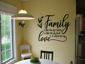 FAMILY A LITTLE BIT OF CRAZY VINYL WALL DECAL HOME DECOR STICKER LETTERING QUOTE