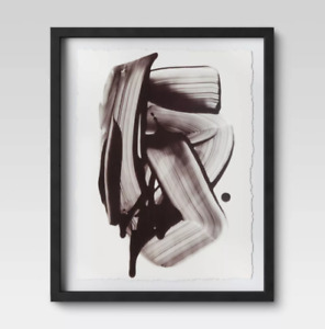 Abstract Black Ink Framed Print 16quot; x 20quot; Project62