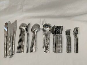 Reed Barton Royal Bamboo Stainless Flatware Lot 50 Serving Knives Forks Spoons +