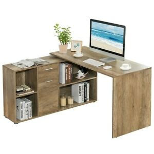 Computer Desk With Drawers Shelves Swivel Corner PC Writing Study Office Home