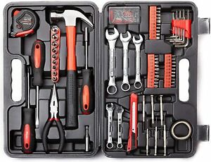 Cartman 148 Piece Tool Set General Household Hand Tool Kit with Plastic Toolbox $27.99