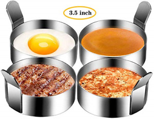 4pc Stainless Steel Round Pancake Rings Non-Stick Fried Egg Mold Breakfast 3.5in