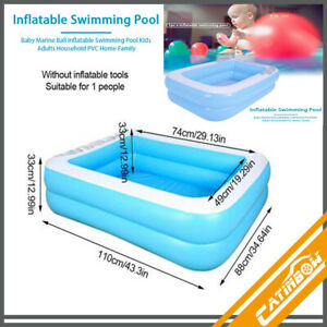 Inflatable Swimming Pool Large Rectangular Family Kid Summer Outdoors Ground HOT
