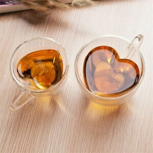 2 Heart Shaped Double Walled Insulated Glass Coffee Mugs or Tea Cups with Handle