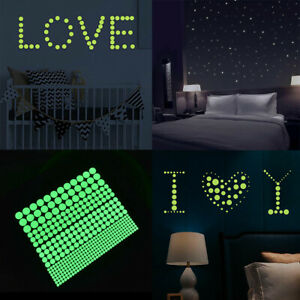 407Pcs Luminous Wall Sticker Glow in Dark Round dot Decal Home DIY Ceiling Decor