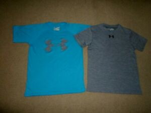 2 UNDER ARMOUR SHIRTS SHORT SLEEVE BOYS SIZE YOUTH SMALL $5.99