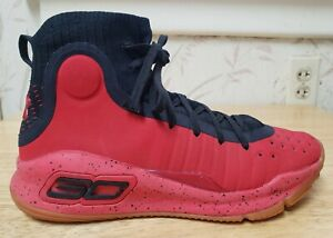 Under Armour Curry 4 Sneaker Red Black 1295995 Basketball Shoes Youth Size 7 Y $24.99