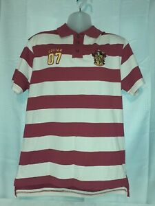 HARRY POTTER 07 Gryffindor Quidditch Jersey Striped Polo Shirt Mens LARGE $26.24