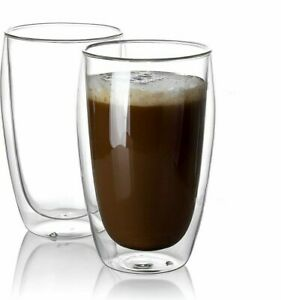 15Oz Double Wall Glass Cup Insulated Glass Coffee MugGlasswareEspresso Beer