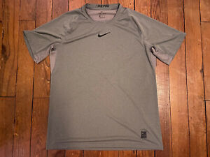 Nike Pro Fitted Short Sleeve Dri FIT Training Shirt Gray Mens XL Extra Large $6.99