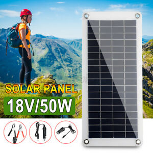 18V 50W Polysilicon Solar Panel Battery Charger Surveillance Cameras Cable