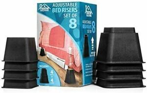 Home Solutions Premium Adjustable Bed Risers or Furniture Risers 3 5 or 8 Inch