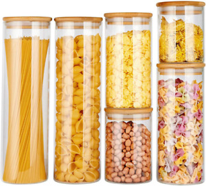 Glass Food Storage Jars Containers Glass Storage Jar With Airtight Bamboo Lids K