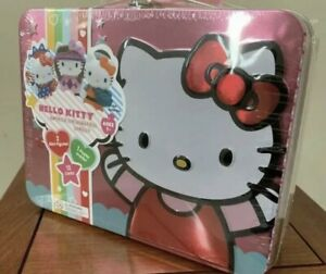 Hello Kitty#x27;s 40th Anniversary Carry Case w Mini Figures Cards Tin Lunchbox