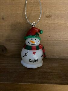 KAYLEE Personalized Blinking Light Up Snowman Ornament by GANZ