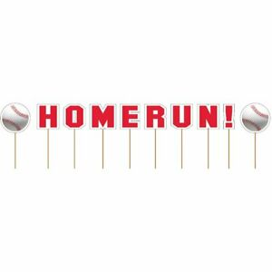 BASEBALL HOMERUN Cupcake Picks Home Run Party Decorations Food Toppers Letters