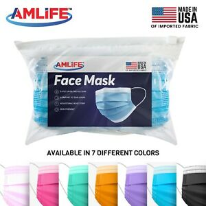 Amlife Disposable Face Masks 3 Ply Mask Multi Color Made in USA Imported Fabric $22.95