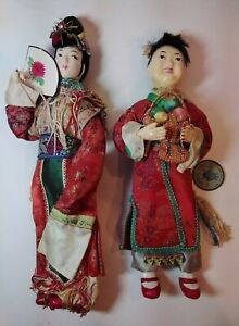 2 Vintage Chinese Dolls Woman amp; Lan Tsai Ho Immortal Tripod Mark Hong Kong 1960 $19.60