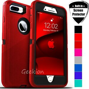 For iPhone 6 6s 7 8 Plus Shockproof Defender Hard Case Cover Screen Protector