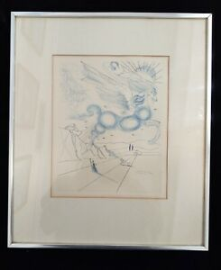 Salvador Dali signed Pegasus winged horse Zeus pen ink drawing litho $499.00