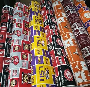NCAA College Cotton Fabric by the 1 4 Quarter Yard PICK TEAM 9quot;L x 44quot;W