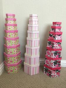3 X SET OF 7 8 STACKABLE NESTING GIFT STORAGE BOXES with LID
