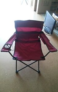 Pair Set Dicks Sporting Goods Maroon Folding Lawn Camping Chairs Portable