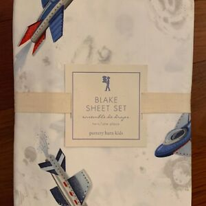 NWT Pottery Barn Kids BLAKE ROCKET TWIN Sheets US SPACE FORCE ASTRONAUT NLA $104.98